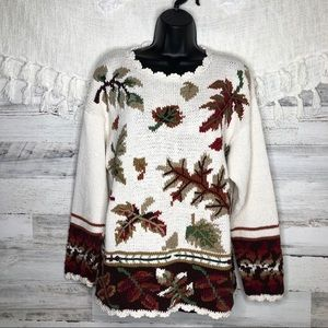 Vintage chunky knitted leaves fall sweater